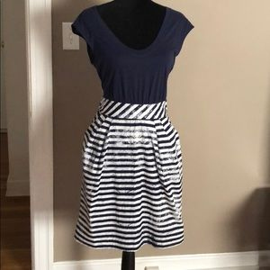 Anthropologie blue and beige dress. NWT